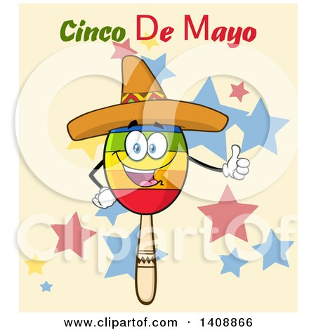 Clipart of a Mexican Maraca Character Wearing a Sombrero and Giving a Thumb Up, with Cinco De Mayo Text over Stars - Royalty Free Vector Illustration by Hit Toon