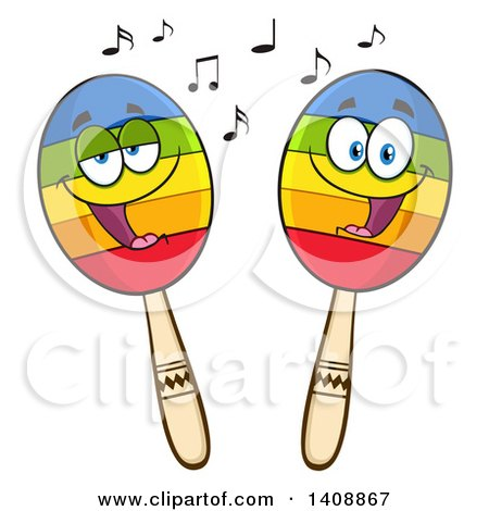 Clipart of a Pair of Maraca Characters - Royalty Free Vector Illustration by Hit Toon