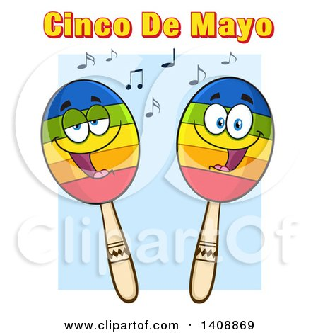 Clipart of a Pair of Maraca Characters, with Cinco De Mayo Text, over Blue - Royalty Free Vector Illustration by Hit Toon