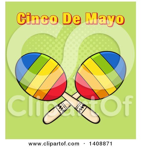 Clipart of a Pair of Maracas with Cinco De Maya Text on Green - Royalty Free Vector Illustration by Hit Toon