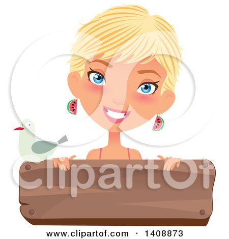 Clipart of a Caucasian Woman with Short Blond Hair, Smiling over a Wood Sign, with a Seagull - Royalty Free Vector Illustration by Melisende Vector
