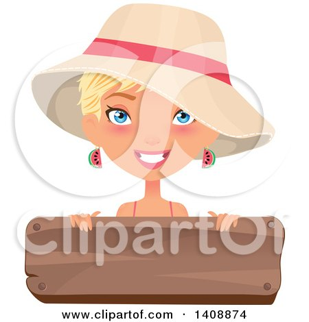 Clipart of a Caucasian Woman with Short Blond Hair, Wearing a Summer Hat over a Wood Sign - Royalty Free Vector Illustration by Melisende Vector