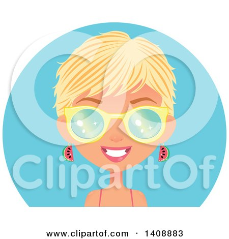 Clipart Of A Caucasian Woman With Short Blond Hair Wearing Watermelon Earrings And Sunglasses Over A Blue Circle Royalty Free Vector Illustration