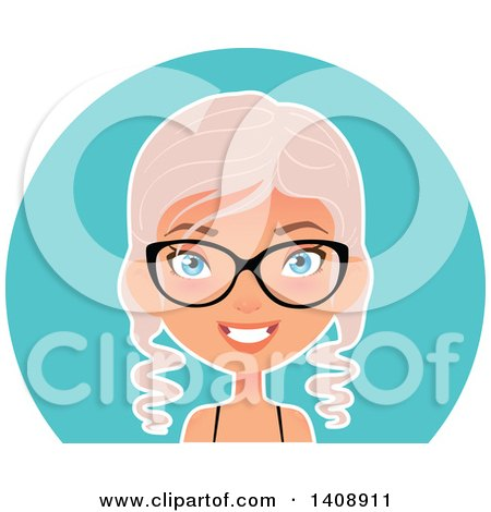 Clipart of a Pastel Pink Haired Geek Caucasian Woman Wearing Glasses over a Blue Circle - Royalty Free Vector Illustration by Melisende Vector