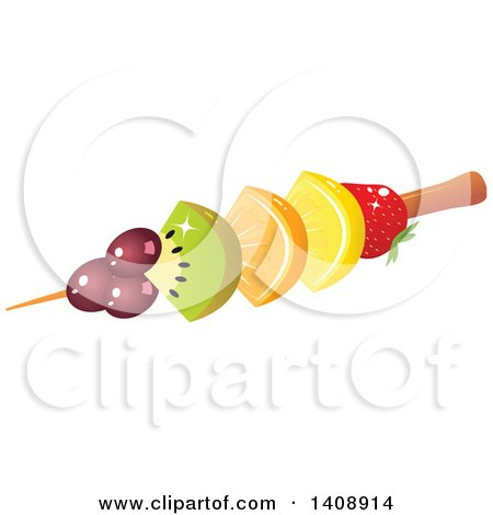Clipart of a Fruit Kebab with Grapes, Kiwi, Orange, Lemon and Strawberry - Royalty Free Vector Illustration by Melisende Vector