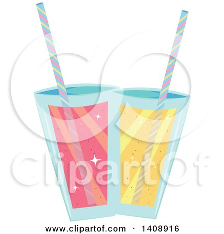 Clipart of Pink and Yellow Cocktails - Royalty Free Vector Illustration by Melisende Vector