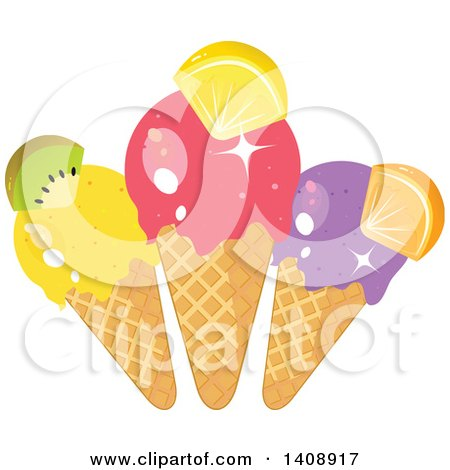 Clipart of a Trio of Waffle Ice Cream Cones Garnished with Fruit - Royalty Free Vector Illustration by Melisende Vector