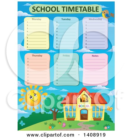 RoyaltyFree RF School Time Table Clipart Illustrations Vector – School Time Table Designs
