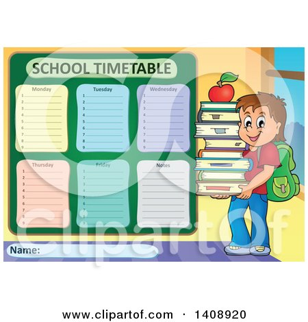Clipart of a School Time Table Schedule Design and Boy Royalty – School Time Table Designs