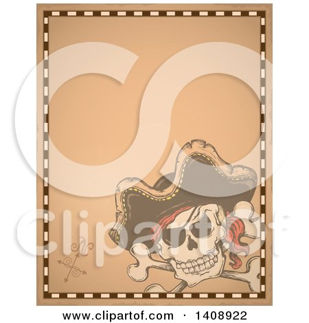 Clipart of a Jolly Roger Pirate Skull and Cross Bones with a Hat on Parchment - Royalty Free Vector Illustration by visekart
