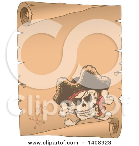 Clipart of a Jolly Roger Pirate Skull and Cross Bones with a Hat on a Parchment Scroll - Royalty Free Vector Illustration by visekart
