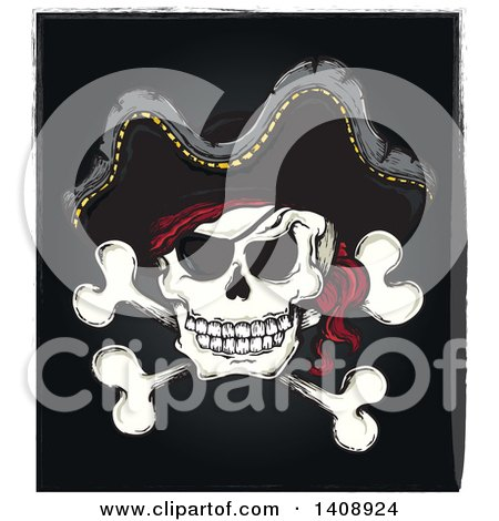 Clipart of a Jolly Roger Pirate Skull and Cross Bones with a Hat on Black - Royalty Free Vector Illustration by visekart