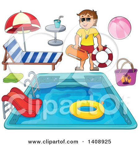 Clipart of a Cartoon Caucasian Male Lifeguard, Pool and Accessories - Royalty Free Vector Illustration by visekart