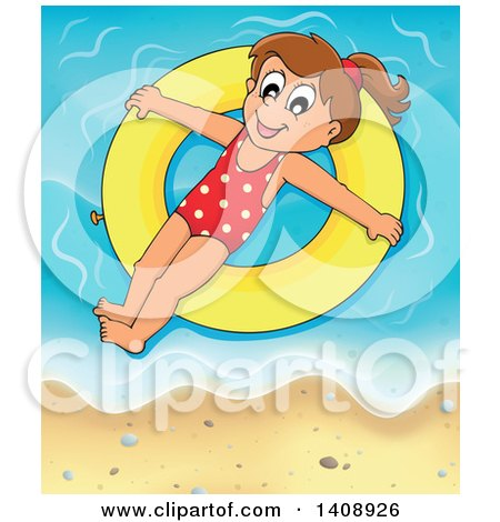 Clipart of a Happy Brunette Caucasian Girl Floating on an Inner Tube on a Beach - Royalty Free Vector Illustration by visekart