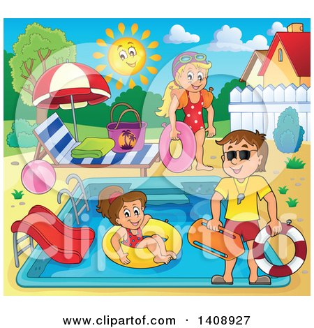 Clipart of a Cartoon Caucasian Male Lifeguard Supervising Children at a Swimming Pool - Royalty Free Vector Illustration by visekart