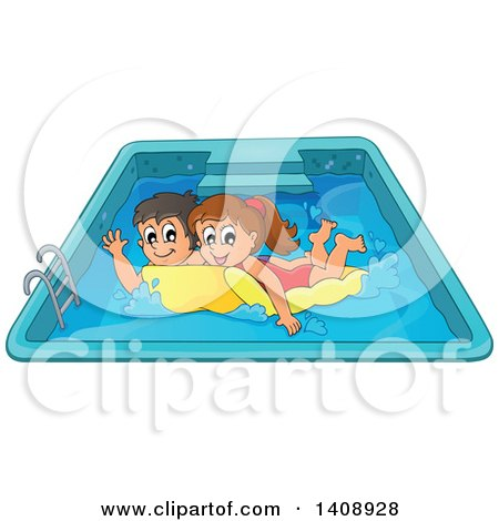 Clipart of a Caucasian Boy and Girl Playing on a Floating Mattress in a Swimming Pool - Royalty Free Vector Illustration by visekart