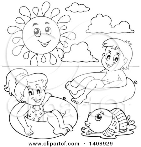 Clipart of a Black and White Lineart Sun over a Fish and Children Foating on Inner Tubes - Royalty Free Vector Illustration by visekart