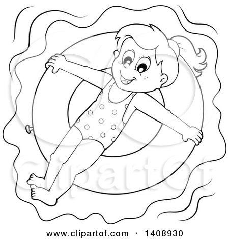 Clipart of a Black and White Lineart Happy Girl Floating on an Inner Tube - Royalty Free Vector Illustration by visekart