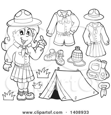 black and white lineart scout girl with camping gear
