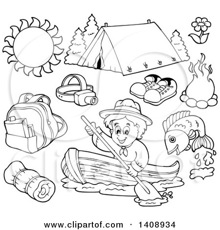 Clipart of a Black and White Lineart Scout and Camping Gear - Royalty Free Vector Illustration by visekart