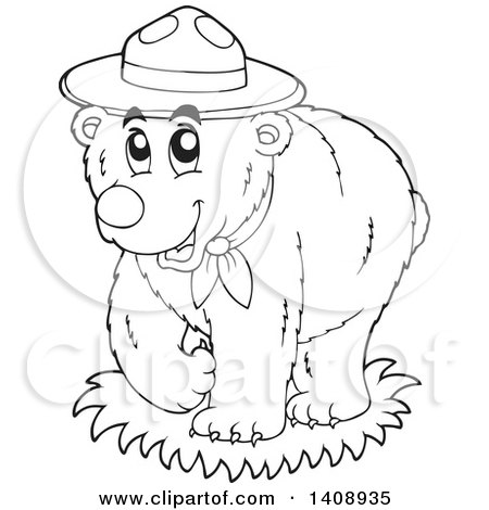 Clipart of a Black and White Lineart Scout Bear - Royalty Free Vector Illustration by visekart