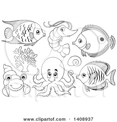 Clipart of Black and White Lineart Sea Creatures - Royalty Free Vector Illustration by visekart