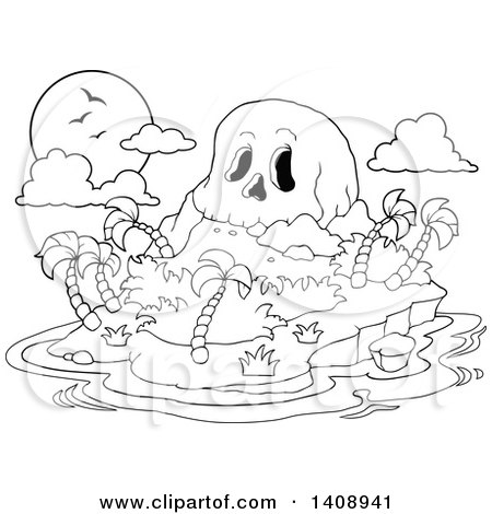 Clipart of a Black and White Lineart Skull Mountain Tropical Island - Royalty Free Vector Illustration by visekart