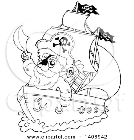 Clipart of a Black and White Lineart Pirate Captain on a Ship - Royalty Free Vector Illustration by visekart