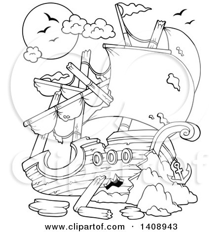 Clipart of a Black and White Lineart Wrecked Pirate Ship - Royalty Free Vector Illustration by visekart