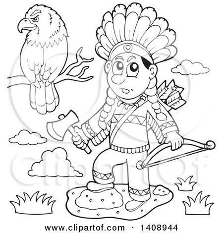 Clipart of a Black and White Lineart Native American Man Holding a Hatchet and Bow by a Perched Eagle - Royalty Free Vector Illustration by visekart