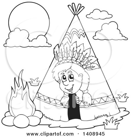 Clipart of a Black and White Lineart Happy Native American Boy Peeking out of a Tepee - Royalty Free Vector Illustration by visekart