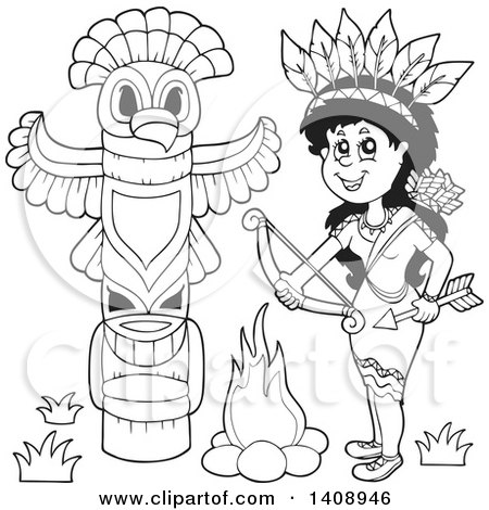 Clipart of a Black and White Lineart Native American Woman Holding a Bow and Arrow by a Totem - Royalty Free Vector Illustration by visekart