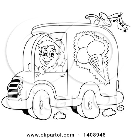 Clipart of a Black and White Lineart Ice Cream Truck Driver - Royalty Free Vector Illustration by visekart