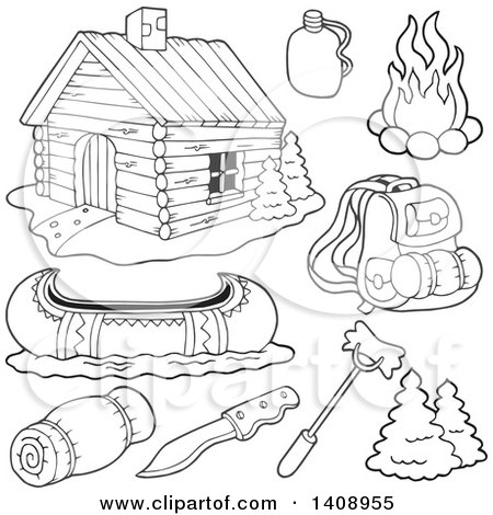Clipart of a Black and White Lineart Cabin and Recreation Items - Royalty Free Vector Illustration by visekart