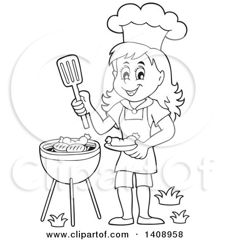 Clipart Of A Black And White Lineart Happy Girl Cooking On A Bbq