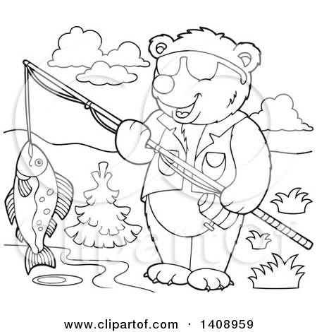 Clipart of a Black and White Lineart Bear Fishing - Royalty Free Vector Illustration by visekart