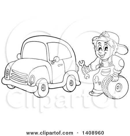 Clipart of a Black and White Lineart Mechanic Working on a Car - Royalty Free Vector Illustration by visekart