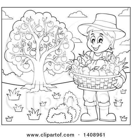 Clipart of a Black and White Lineart Farmer Holding a Basket by an Apple Tree - Royalty Free Vector Illustration by visekart