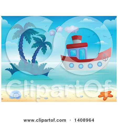 Clipart of a Boat near an Island and Shore - Royalty Free Vector Illustration by visekart