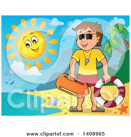Clipart of a Cartoon Caucasian Male Lifeguard on a Sunny Beach - Royalty Free Vector Illustration by visekart