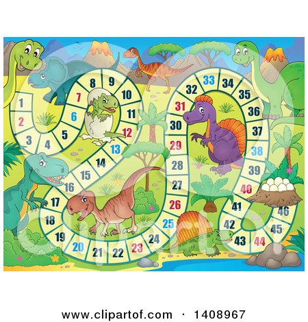 Clipart of a Dinosaur Themed Board Game Design - Royalty Free Vector Illustration by visekart