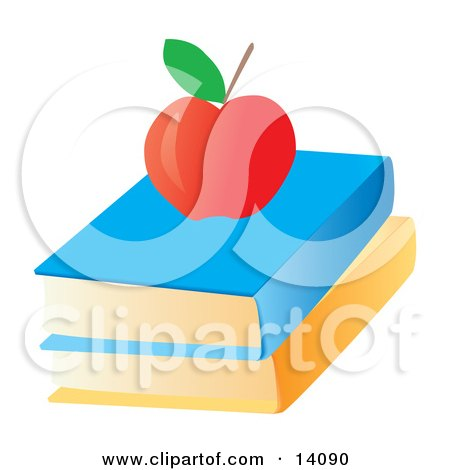 Red Apple on Top of Text Books School Posters, Art Prints