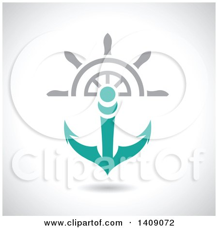 Clipart of a Nautical Ship Helm Steering Wheel and Turqoise Anchor - Royalty Free Vector Illustration by cidepix