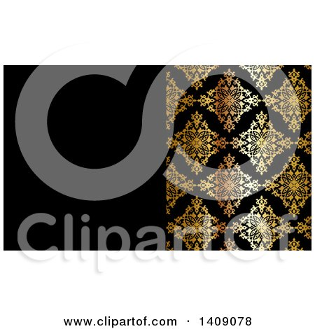 Clipart of a Shiny Gold and Black Damask Floral Pattern Business Card or Background Design - Royalty Free Vector Illustration by KJ Pargeter
