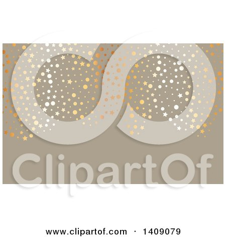 Fancy Metallic Circles and Stars over Taupe Business Card or Background Design Posters, Art Prints