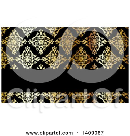 Shiny Gold and Black Damask Floral Pattern Business Card or Background Design Posters, Art Prints