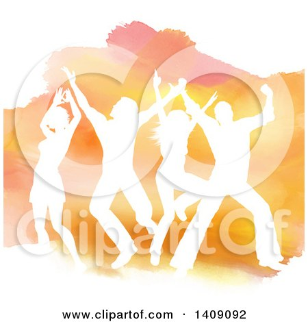 Clipart of a White Silhouetted Dancers Jumping over Orange Watercolor, on White - Royalty Free Vector Illustration by KJ Pargeter