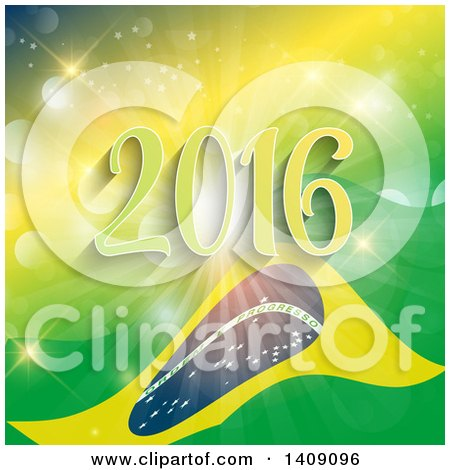 Clipart of a Rio De Janeiro Brazil Flag and 2016 on a Yellow and Green Burst - Royalty Free Vector Illustration by KJ Pargeter