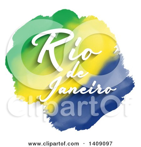 Clipart of White Rio De Janeiro Text over Watercolor Green Yellow and Blue Stripes, on White - Royalty Free Vector Illustration by KJ Pargeter