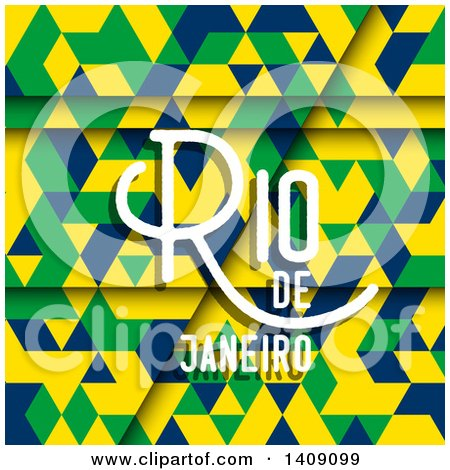 Clipart of a Geometric Background with Rio De Janeiro Text - Royalty Free Vector Illustration by KJ Pargeter